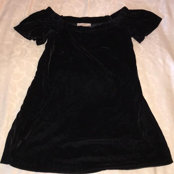 666e72596df0 Black Velvet Off Shoulder Dress. NWT. LOFT